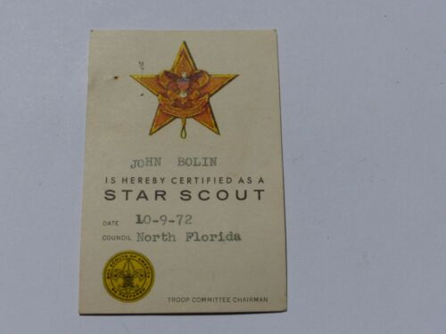 Vintage 1972 STAR SCOUT Certification Card Boy Scout BSA North Florida Council