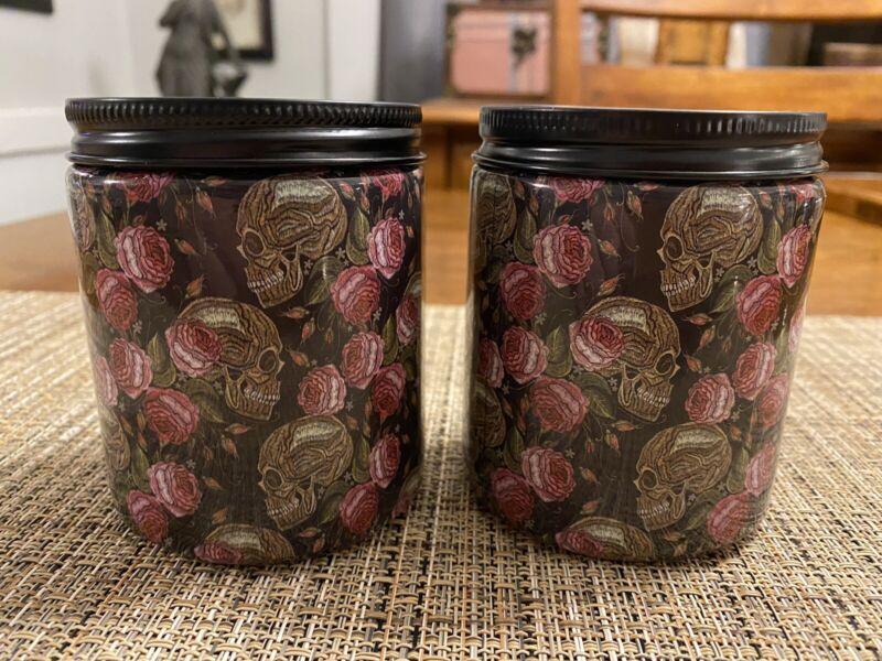 Set of 2 Halloween Jar Candles - Skulls & Roses Design - Enchanted Garden Scent