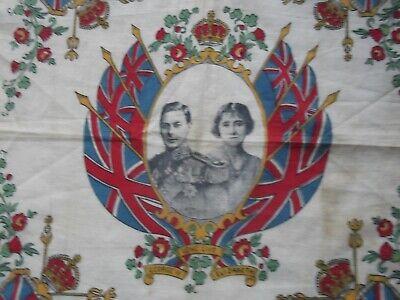 Coronation Handkerchief King George V1& Queen Elizabeth [Queen's Mother] Flags