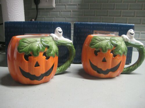 Set of 2 Fitz & Floyd Pumpkin and Ghost Mugs / Cups w box