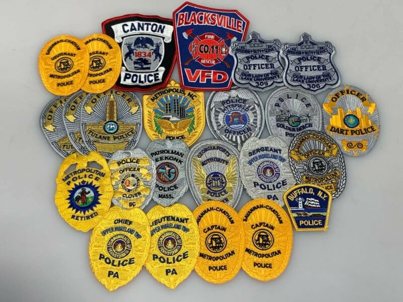 Police Trader Patch 24 Patches Officer Sergeant Captain Lieutenant Chief VFD Co.