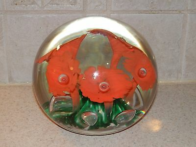 GIBSON ART GLASS HUGE MAGNUM PAPERWEIGHT DOORSTOP 1987 STRIKING COLORS!