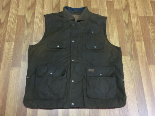 MENS 2XL - Vtg Outback Trading Company Oiled Zip Up Hunting Vest Brown
