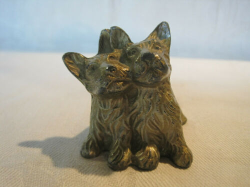 Cast metal Scottie dogs Scottish Terrier dog figurine gold wash finish