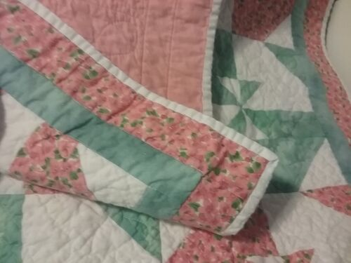 Handmade quilted baby blanket/quilt, pink,white, blue, 37 x 40