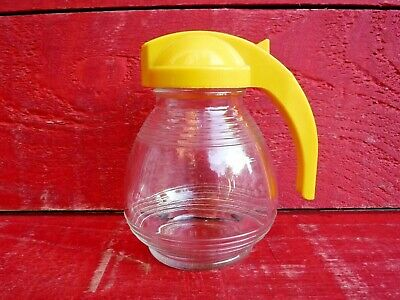 VINTAGE 1950'S GLASS SUGAR DISPENSER, YELLOW PLASTIC TOP - HYGENE WARE
