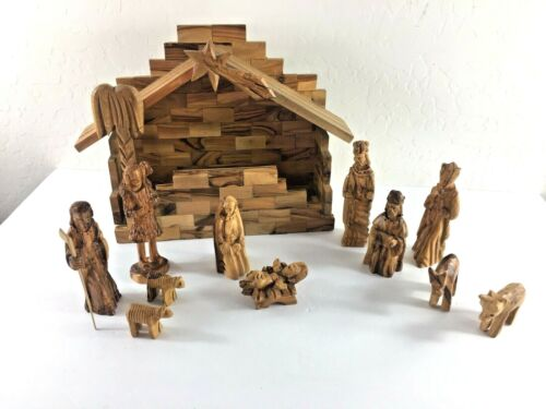 Vintage Creche Nativity Set European Hand Carved Wooden w/ 12 Figures