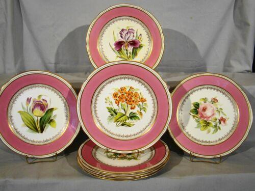 "Rare Set 7 English Porcelain Hand Painted Floral Dessert Plates 9"" dia"