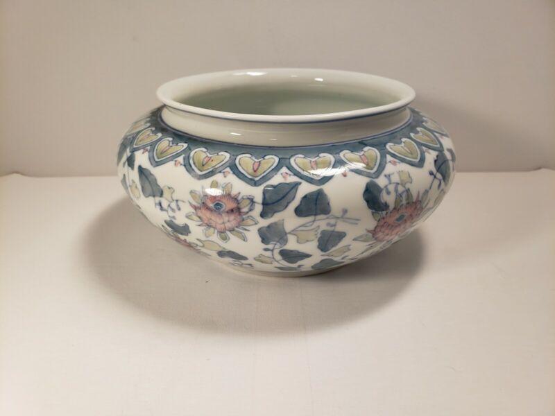 Antique Porcelain Tureen Hand Painted Pink Lotus Vase Round