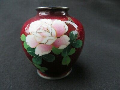 Vintage Small mini Japanese Cloisonne Pigeon Red Vase Pink Flower 2.5