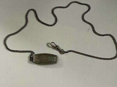 Antique Victorian Sterling 925 pocket watch chain HAND Hammered belt holder SIGN
