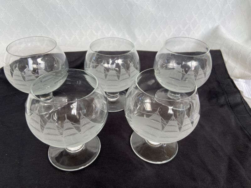 Brandy Snifters 5 Large Glasses. Etched crystal of tall ship. Vintage. Excellent