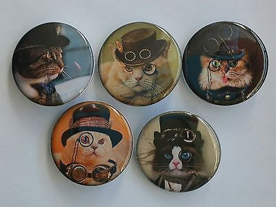 """Set of 5 1.25"""" Pinback Button Badge Steampunk Cats (1¼"""" Pins, Approx. 32mm)"""