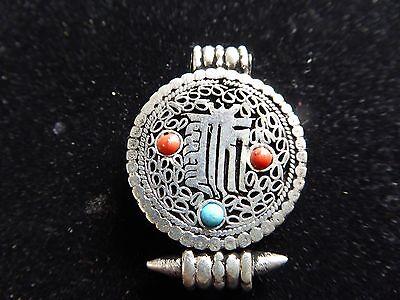 Handmade Tibetan Buddhist Om Kalachakra Mantra Silver Ghau Gau Box Locket Amulet