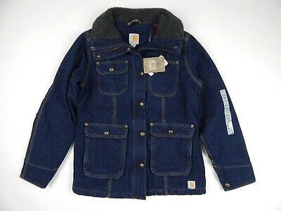 Carhartt Heritage Blue Denim Quilt Lined Wesley Chore Coat Women's S New