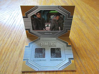 2017 Star Trek 50th Anniversary Romulan Uniform Dual Relic Book Card DRC2