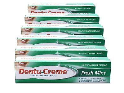 6x Dentu-Creme Denture Cleansing Fresh Mint Toothpaste (48ml)
