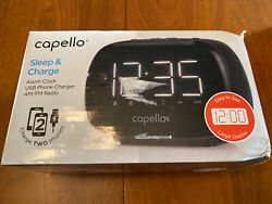 Capello Sleep & Charge Dual USB Cell Phone Charger Alarm AM/FM Radio: FREE SHIP!