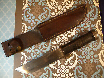 """WWII CATTARAUGUS 225-Q QUARTERMASTER FIGHTING KNIFE & LEATHER SCABBARD 11.5"""""""