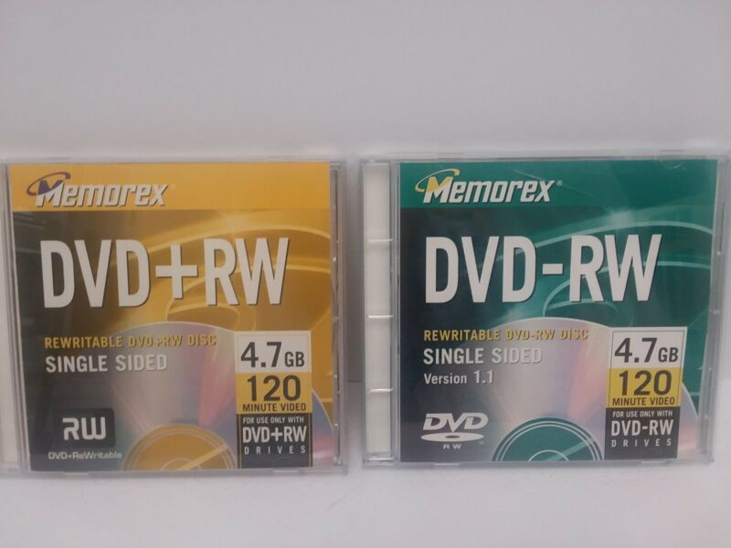 Lot of 2 Memorex DVD+RW 4.7GB 120 Minute Single Sided Unused