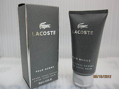 LACOSTE POUR HOMME ** GREY ** 2.5 FL oz / 75 ML After Shave Balm New In Box, used for sale  Shipping to India