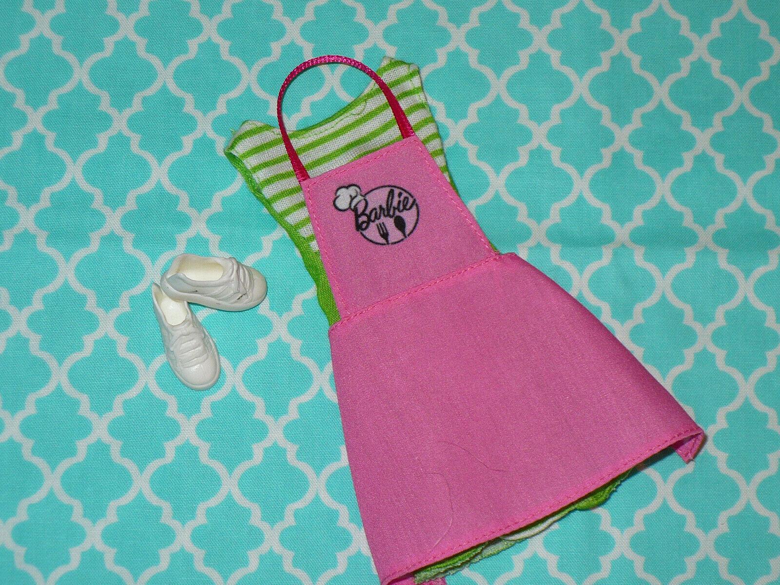 Mattel Barbie Doll Clothing Lot FASHIONISTAS DRESS APRON SHOES RESTAURANT Coffee - $14.39