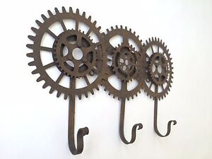engranaje-y-TRIPLE-Ganchos-industrial-vintage-Steampunk-Estilo-Metal-COLGADOR