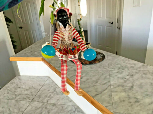 Vintage Rita Madas Insantis Black Americana Puppet Marionette With Two Maracas
