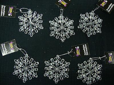 6 x large acrylic snowflake hangers 11cm Christmas Tree Decorations - Large Snowflake Decorations