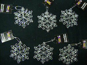 6 x large acrylic snowflake hangers 11cm Christmas Tree Decorations
