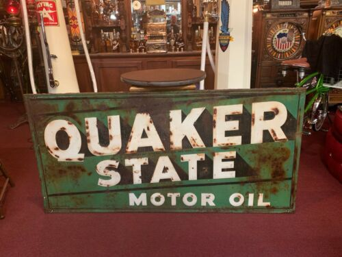 "Vintage 6 Foot QUAKER STATE Embossed Tin Building Advertising Sign ""Watch Video"""