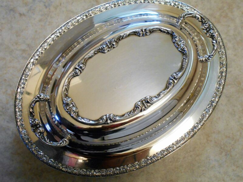 Wm Rogers Primrose 7812 silverplated covered dish, lid, William Rogers silver.