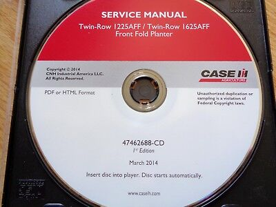 Case Ih Twin Row 1225aff 1625aff Front Fold Planter Service Manual Cd Oem 2014