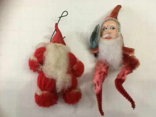 Vintage Pipe Cleaner Chenille Santa w/Tree and Yarn Santa Ornaments