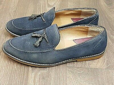Burton Tassel Loafers In Blue with Synthetic Soles UK SIZE 9.5 EU 44 Comfy