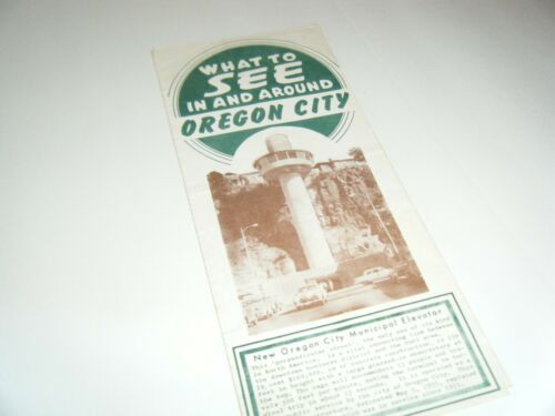 1957 What to See In and Around Oregon City Travel Brochure Municipal Elevator