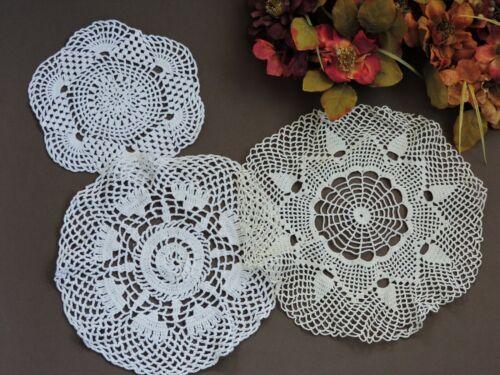3 Vintage crochet lace doilies