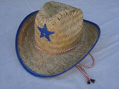 Infant/Toddler  COWBOY Hat Straw With BLUE Trim Sheriff Badge NEW CUTE!!](Toddlers Cowboy Hat)