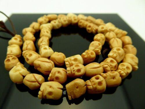 "Skull Antiqued Water Buffalo Bone Small 8mm Bead Strand 15.5"" -50 Pieces"
