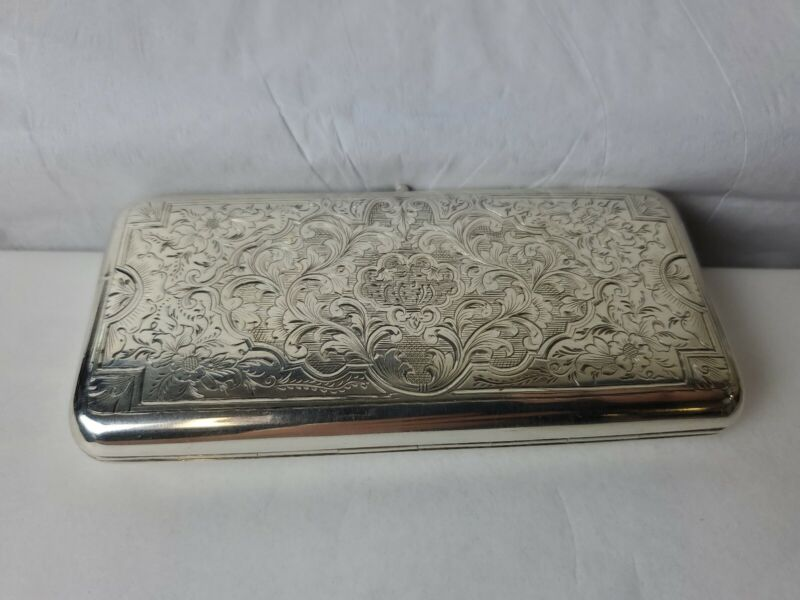 19th Century Russian Chased 84 Sterling Silver Cigarette Case