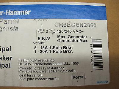 Cutler Hammer Ch6egen2060 Emergency Generator Panel - Ats90