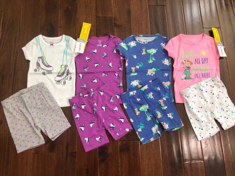 8 Piece Lot Of Baby Girl Summer Pajamas Size 12 Months NWT