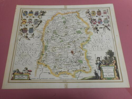 100% ORIGINAL LARGE WILTSHIRE MAP BY JANSSON C1650  HAND COLOUR VGC
