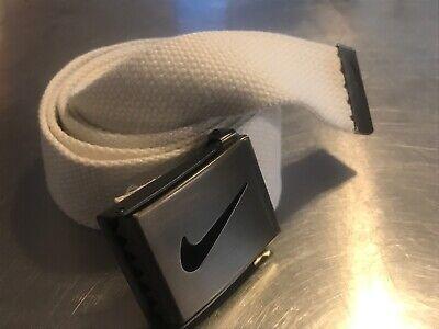 Nike Golf Men's Web Belt Adjustable One Size White Athletic Swoosh -