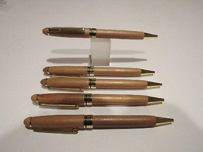 LOT OF 5  TERZETTI BAMBOO GOLD TRIM BALLPOINT PEN-ECO FRIENDLY+ pouch - Gold Trim Bamboo