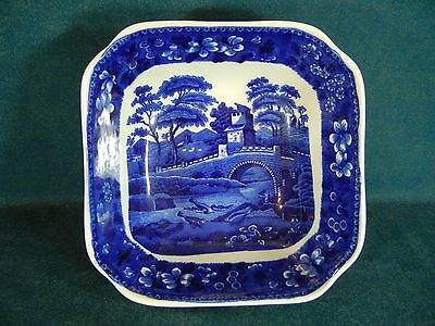 "Copeland Spode Blue Tower Vintage Unusual 7 3/4"" Square Serving Bowl"