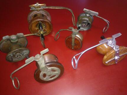 Fishing- Old Vintage  Fishing Reels Wood Side cast Alvey others Wavell Heights Brisbane North East Preview