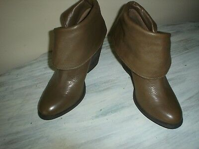 Lucky Brand Ethann Brown Leather Fold Down Cuff Ankle Boots Women