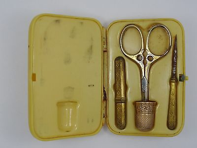 ANTIQUE VICTORIAN TRAVELERS SEWING KIT SCISSORS TOOL w/ 14K SOLID GOLD THIMBLE