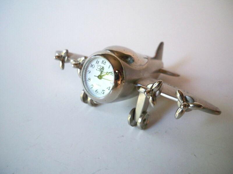 Airplane Small Desk Clock Quartz Platinum Promo for The Aviator Movie